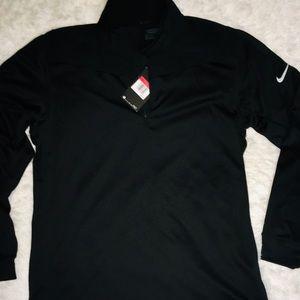 Nike Dri Fit Black 1/4 Zip Up Long Sleeve Men's LG